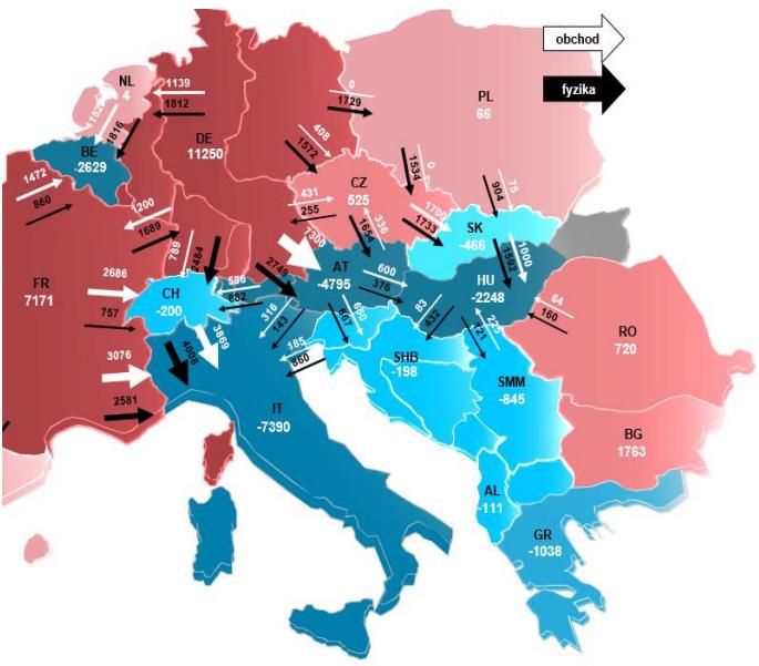 Situace ze dne 11. 12. 2014 13:00 – 14:00. Zdroj: ČEPS – Mimořádná situace v PS ČR na přelomu 2014/2015