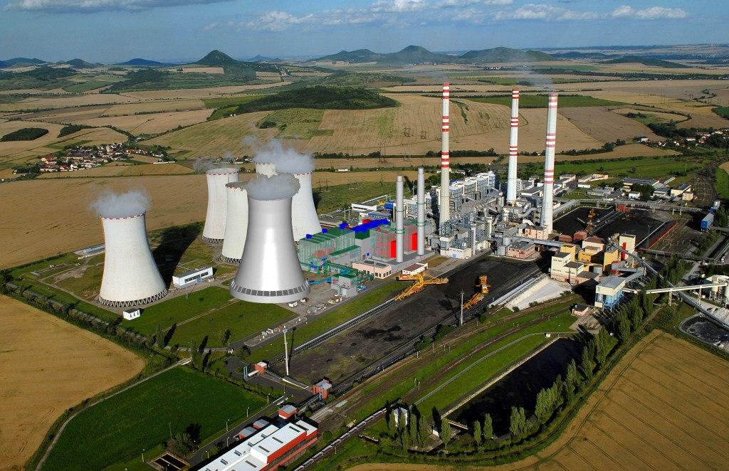 Vizualizace výstavby paroplynové elektárny Počerady v areálu uhelné elektrárny. Zdroj: cez.cz
