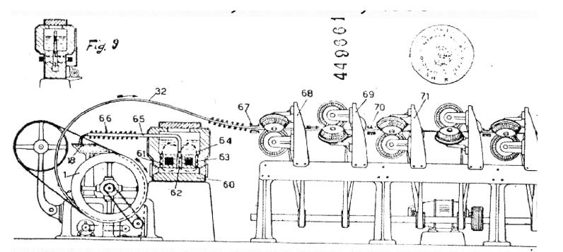 Patentovaná konstrukce odlévacího stroje Il.Properziho. Zdroj: ČVUT FEL