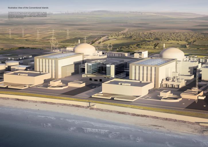 Plánovaná podoba dvou bloků jaderné elektrárny Hinkley Point C. Tato elektrárna by měla ukončit přestávku ve výstavbě nových jaderných bloků ve Spojeném království, která trvá přes 20 let.