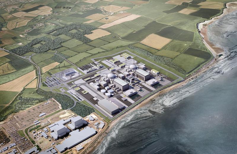 Předběžná podoba dvou nových bloků s reaktory EPR, které mají vzniknout v sousedství reaktorů Magnox a AGR.