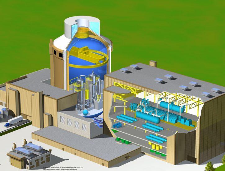 Schéma jaderného bloku s reaktorem AP1000, které jsou plánovány v lokalitě Moorside.