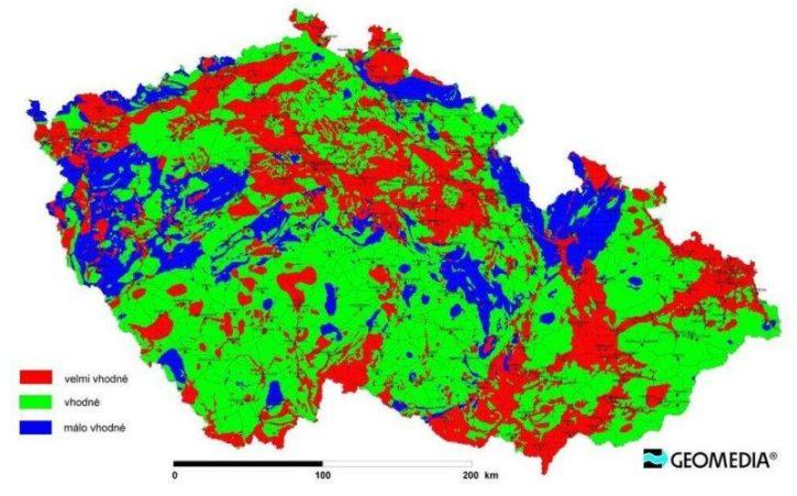 Klasifikace vhodnosti lokalit z hlediska geotermální energie. Zdroj: geomedia.cz