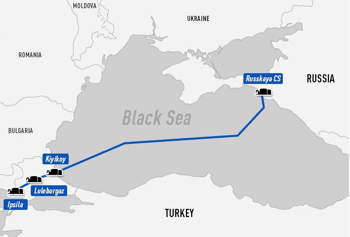 Trasa plynovodu Turkish Stream vedoucího z Ruska skrz Turecko. Zdroj: Gazprom