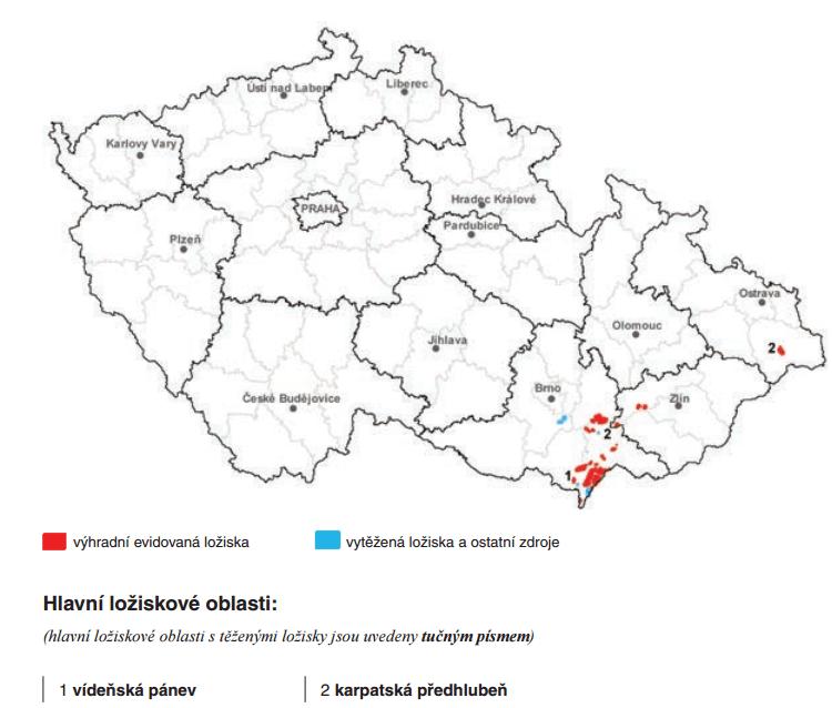 Evidovaná ložiska ropy na území ČR (Zdroj: Česká geologická služba)