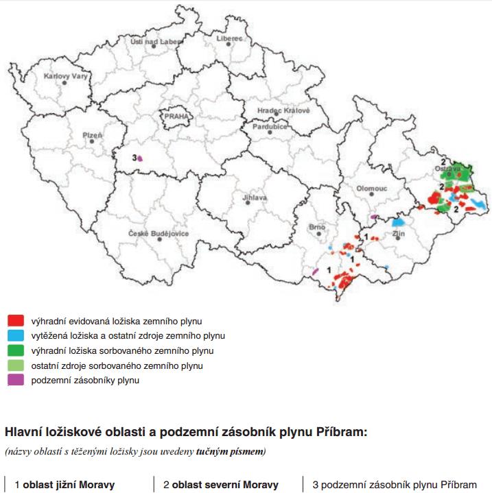 Evidovaná ložiska zemního plynu na území ČR (Zdroj: Česká geologická služba)