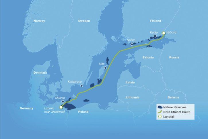 Trasa plynovodu Nord Stream vedoucího skrz Baltické moře do Německa. Zdroj: Nord Stream