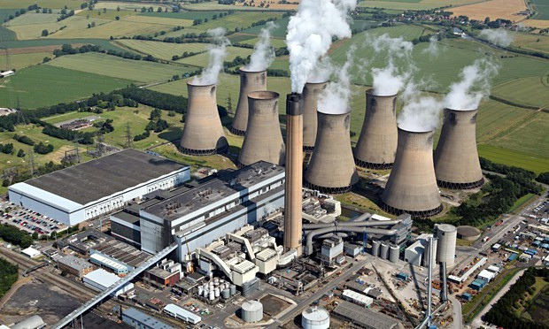 Letecký pohled na elektrárnu Eggborough