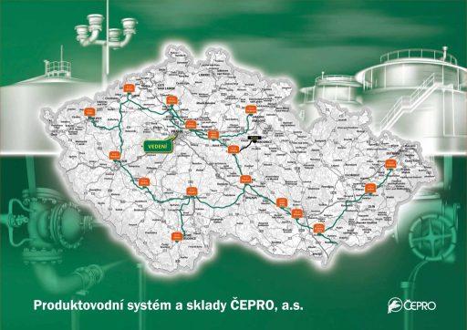 Mapa produktovodů společnosti ČEPRO. Zdroj: ČEPRO
