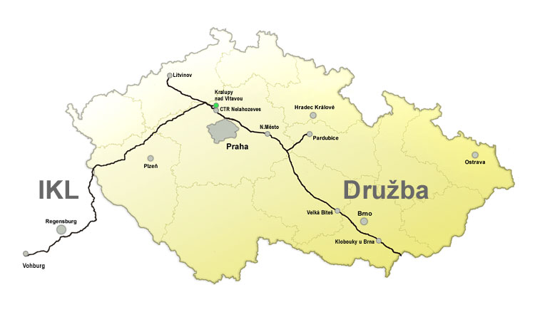 Ropovody v ČR. Zdroj: MERO