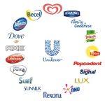 Logo společnosti Unilever a některých produktů společnosti. Zdroj: Unilever