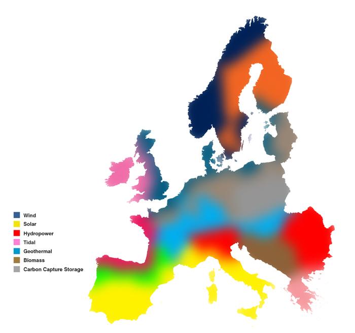 Regiony EU zabarvené podle technologie s nejvyšším potenciálem v dané lokalitě. Zdroj: worldinfrastructurenews.com