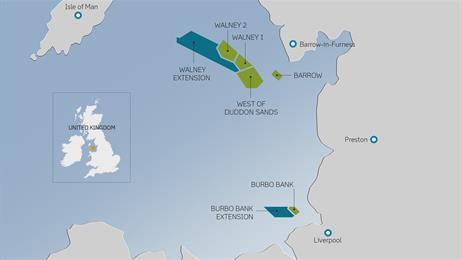 Umístění větrného parku Walney se zobrazením plánovaného rozšíření. Zdroj: http://www.dongenergy.com/
