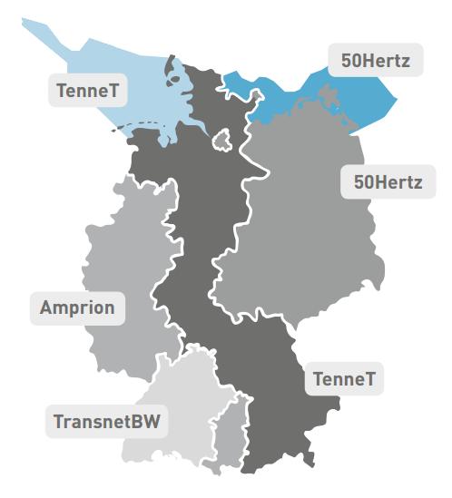 Provozovatelé přenosových soustav v Německu. Zdroj: NETZENTWICKLUNGSPLAN STROM 2025