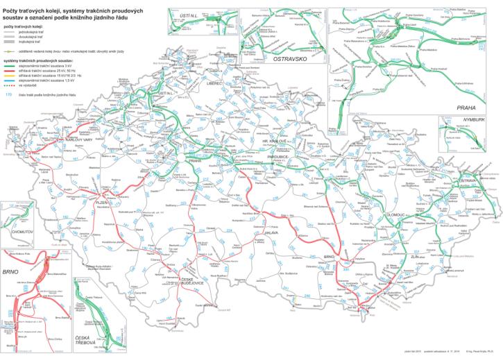 Elektrifikace českých železničních tratí. Zdroj: http://www.educon.zcu.cz/