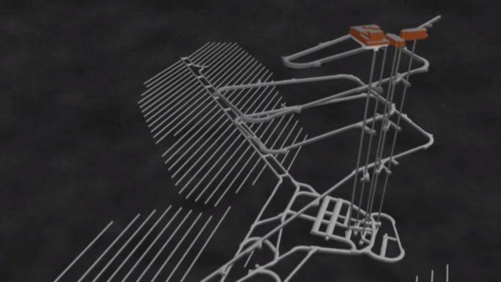 Vizualizace podzemního trvalého úložiště jaderného odpadu v Olkiluotu.
