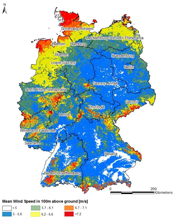Průměrná rychlost větru ve výšce 100 m nad zemským povrchem, Německo.Zdroj mdpi.com