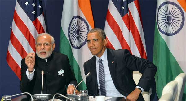 Indický premiér Narendra Modi a americký prezident Barack Obama. Zdroj: Diplomacyindia