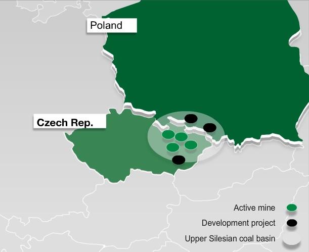 Doly vlastněné společností NWR. V provozu jsou doly Karviná, Paskov, Darkov ČSM