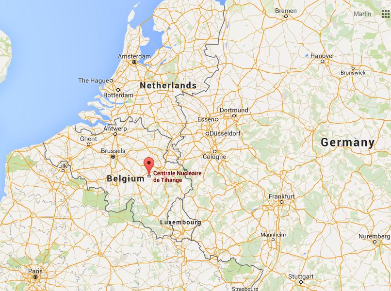 Umístění JE Tihange u německých hranic
