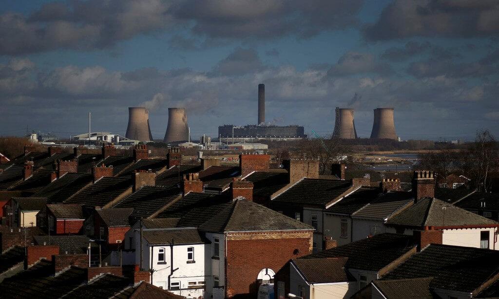 uhelná elektrárna Fiddlers Ferry na severu Anglie