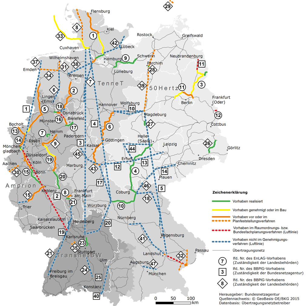Plán výstavby německé přenosové sítě zdroj:Netzausbau.de