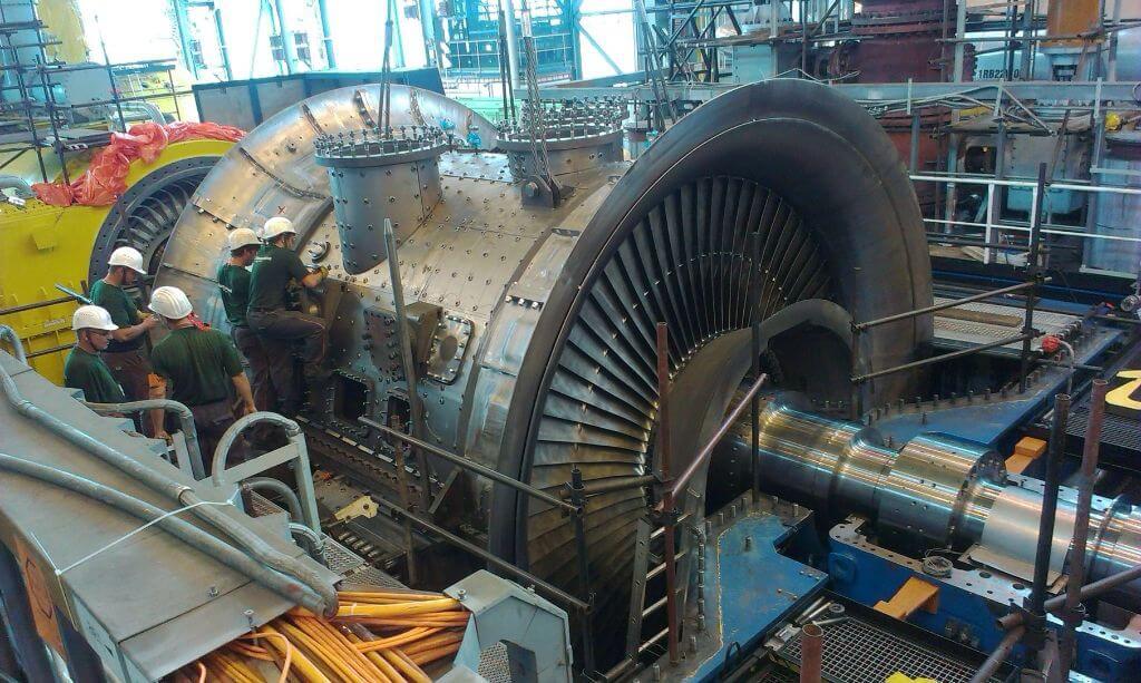 Pohled na odkrytý nízkotlaký díl turbíny JE Temelín. Zdroj: ČEZ