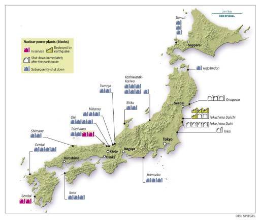 Přehled japonský jaderných elektráren. Fialově jsou zvýrazněn bloky, které jsou v provozu, modře a bíle bloky, které jsou odstavené a zelenou barvou jsou vyznačené bloky poničené zemětřesením. Zdroj: Der Spiegel, redakčně upraveno.