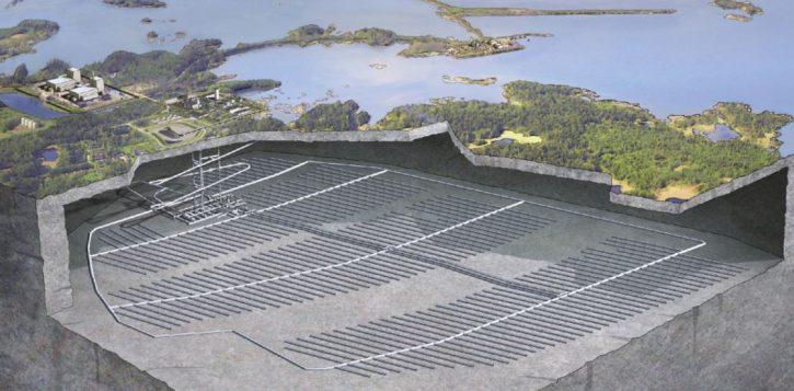 Švédské uložiště vyhořelého paliva u elektrárny Oskarsham Zdroj SKB