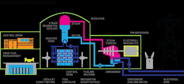 Schéma reaktorů typu CANDU (PHWR); Zdroj: cna.ca