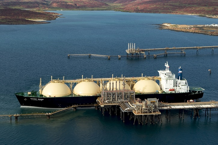 LNG tanker at loading terminal