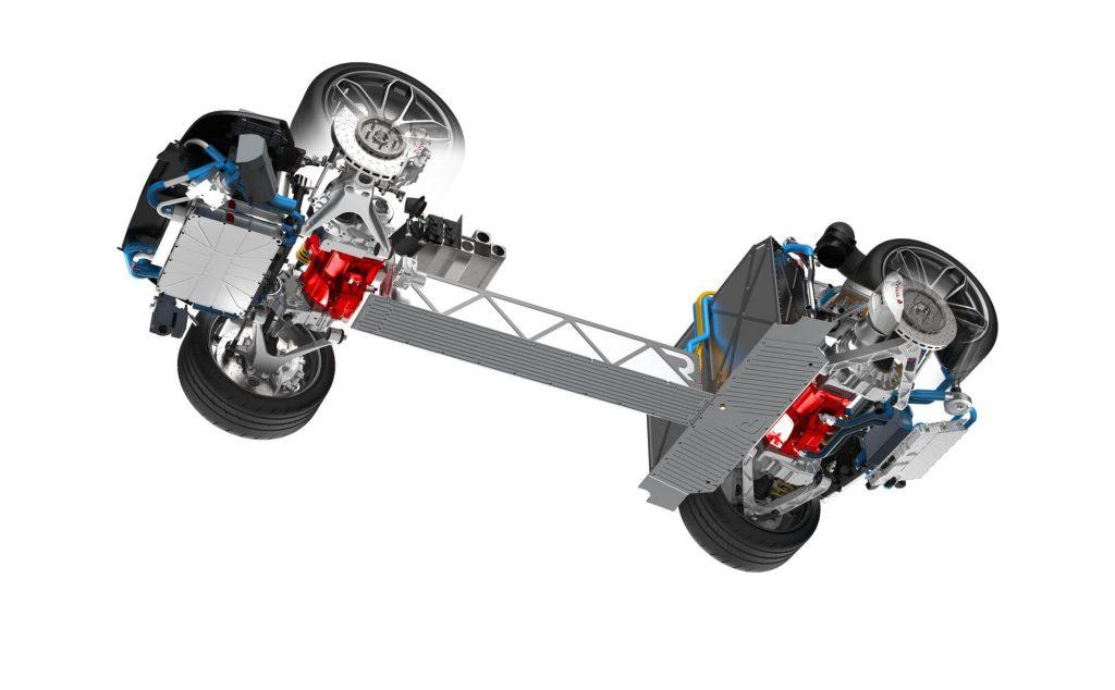 Rimac One: rozložení pohonného ústrojí, zdroj: Rimac Automobili
