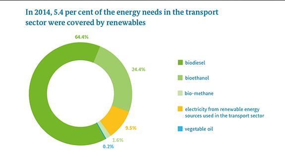 Méně než 6 % z paliv pro sektor dopravy pocházelo z OZE. Zdroj: BMWi