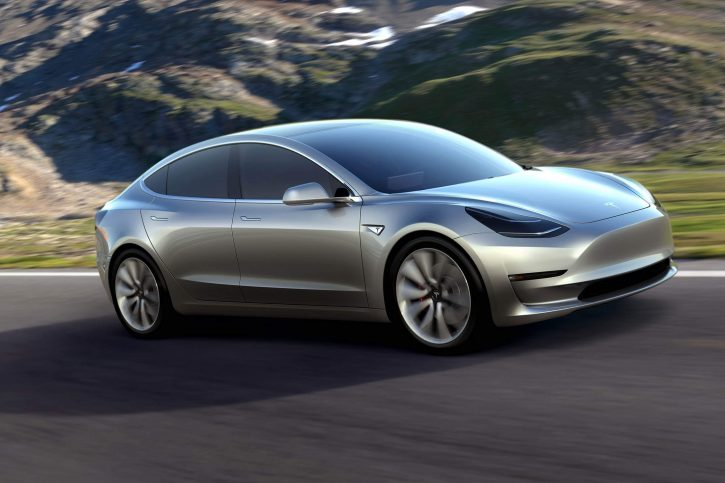epa05238727 An undated handout photo made available by Tesla late 31 March 2016 shows the Tesla Model 3 electric car that was unveiled in Hawthorne, California, USA, 31 March 2016. According to the Tesla media relations website, 'the Model 3 should be the safest car in its class once testing completes. This, combined with over 200 miles of range while starting at 35,000 US dollars before incentives, makes Model 3 an extraordinary mid-size sedan. Model 3 will begin production in late 2017, ramping Tesla vehicle production to 500,000 vehicles per year.'  EPA/TESLA / HANDOUT FOR EDITORIAL USE ONLY HANDOUT EDITORIAL USE ONLY/NO SALES