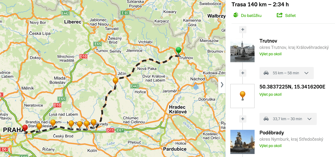 Mapa testovací trasy z Krkonoš do Prahy, zdroj: Mapy.cz