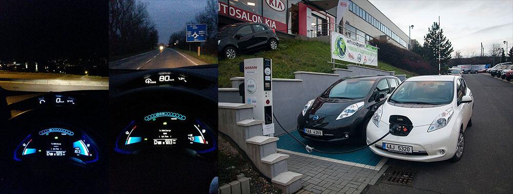 Nissan LEAF zapůjčený Nissan Česká republika při testovací jízdě z Krkonoš do Prahy, foto: Tomáš Jirka