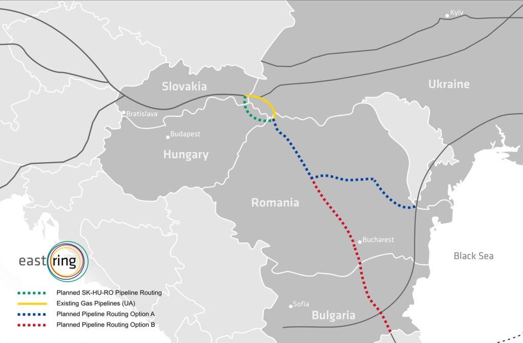 Mapa pro plynovod Eastring Zdroj: Eastring.eu
