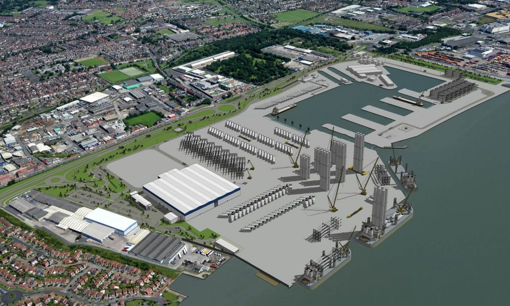 Vizualizace továrny Siemens na lopatky větrných turbín. Závod je plánován u města Hull. Zdroj: Siemens