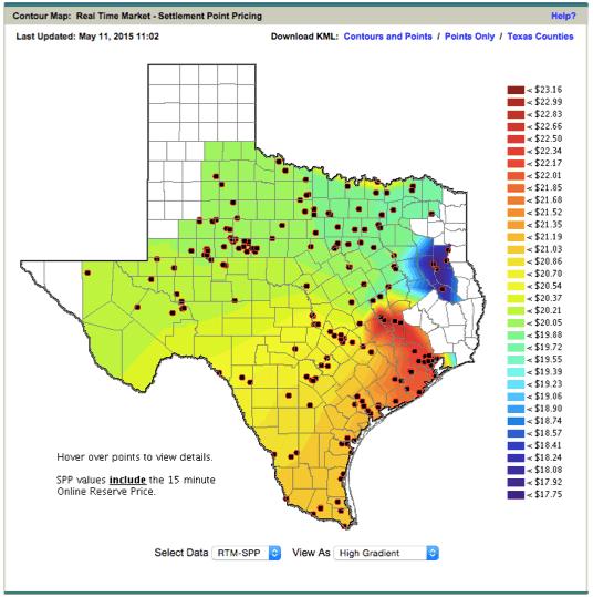 Cena elektřiny závislá na lokalitě, Texas