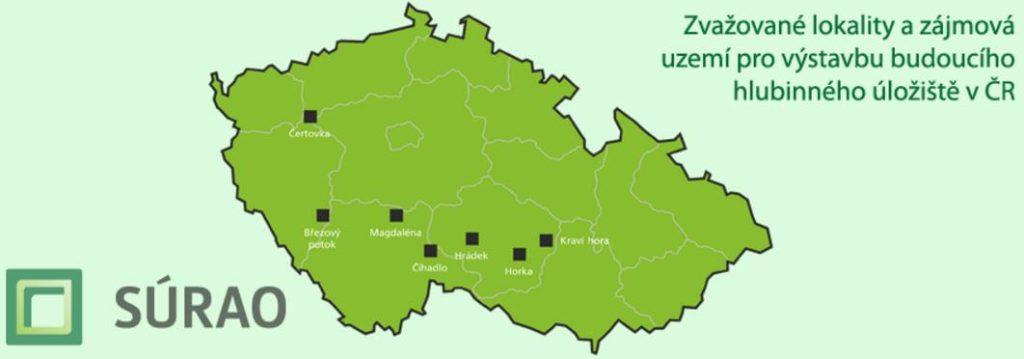 Původně navrhované lokality možného úložiště jaderného odpadu v ČR. Zdroj: SÚRAO
