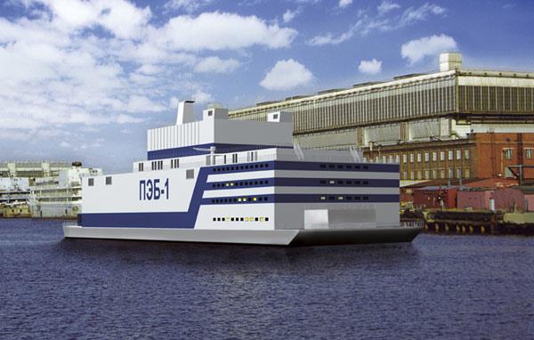 Plovoucí jaderný reaktor Akademik Lomonosov. Zdroj: Sevmaš