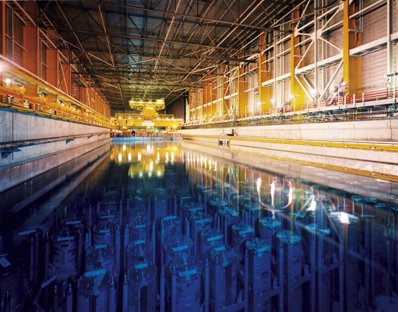 Použití tzv. Mokré metody ukládání použitého paliva v JE Sellafield