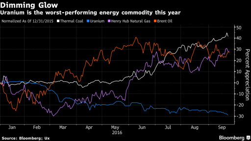 Porovnání vývoje cen energetických komodit v roce 2016 . Zdroj: bloomberg.com; Ux