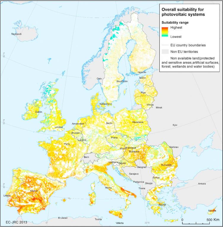 Mapa vhodnosti pro výstavbu solární elektrárny