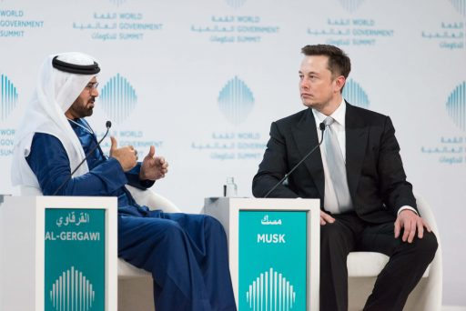 H E Mohammed Al-Gergawi, Minister of Cabinet Affairs and Future, UAE with Elon Musk at the World Government Summit, Dubai (Photo - ME NewsWire)