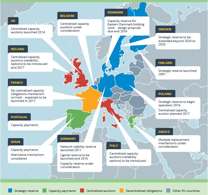 Mapa - výběr kapacitních mechanismů v EU. Zdroj: ICIS