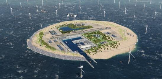Vizualizace energetického uzlu North Sea Wind Power Hub. Zdroj: energinet.dk