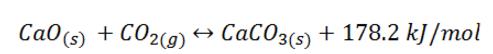 Reverzibilní termický rozklad uhličitanu vápenatého.