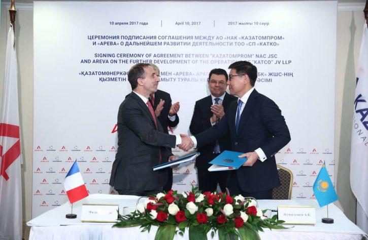 Uzavření dohody mezi KazAtomProm a Arevou; Zdroj: KazAtomProm