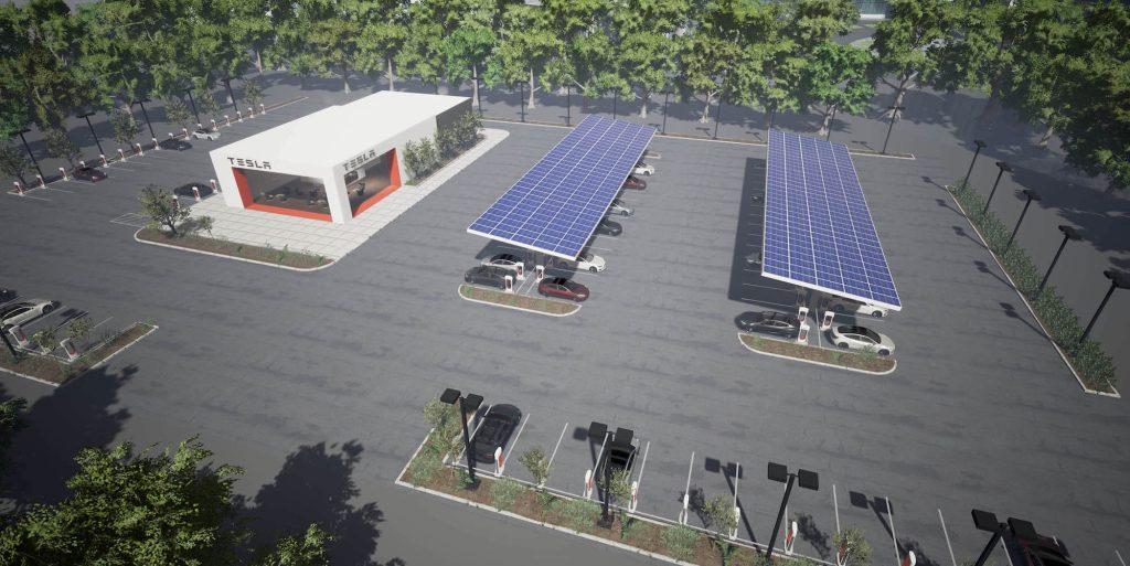 Vizualizace dobíjecí stanice se solárními panely (Zdroj: Tesla)